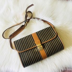 Authentic Vintage Fendi Purse Bag Striped Italy